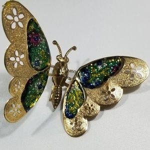Vintage custom jewelry brooches pin enamel butterf